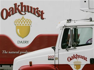 Oakhurst Dairy trucks are lined up at the family-owned independent dairy in Portland, Maine.