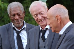 "From left, Morgan Freeman as Willie Davis, Michael Caine as Joe Harding and Alan Arkin as Albert Garner in ""Going in Style."""