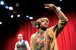 "Monteze Freeland was a force of nature as Mo (right) -- with Corey Jones as Gil (left) and Jason Shavers as Terry -- in the City Theatre comedy ""Wild With Happy"" by Colman Domingo, a playwright and actor on ""Fear the Walking Dead"" and ""The Knick."""