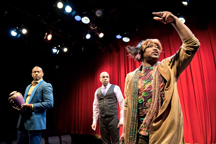 "20170404scWildWithHappy04-3 Monteze Freeland as Mo, right, acts a scene with Corey Jones as Gil, left, and Jason Shavers as Terry during a dress rehearsal on April 4 for ""Wild With Happy,"" City Theatre's penultimate show of the 2016-17 season. The comedy was written by Colman Domingo, a playwright and actor on ""Fear the Walking Dead"" and ""The Knick."""
