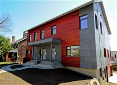 A view of a duplex  with Passive House energy-efficient technology in Squirrel Hill.