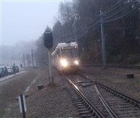 A trolley near the Castle Shannon station was brought to a stop Friday morning due to a broken overhead power line.