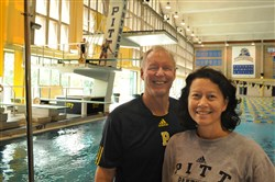 Retiring Pitt diving coach Julian Krug with his wife, Doe, at Pitt's Trees Pool.