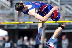 Laurel Highland's Sven Rabshal wins the high jump at the Tri-State Track Coaches Association Invitational Saturday at West Mifflin High School.