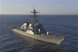 The guided-missile destroyer USS Porter (DDG 78), one of the ships that fired cruise missiles last year into Syria.