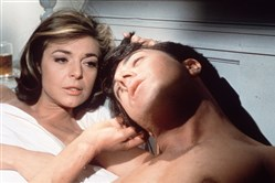"In this publicity still, actors Anne Bancroft, left, and Dustin Hoffman appear in a scene from the 1967 film ""The Graduate."""