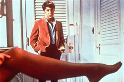 "Dustin Hoffman looks over the stockinged leg of actress Anne Bancroft, his seductress in this scene from the 1967 film ""The Graduate."" The Oscar-winning movie is being reissued to theaters in a fresh print."