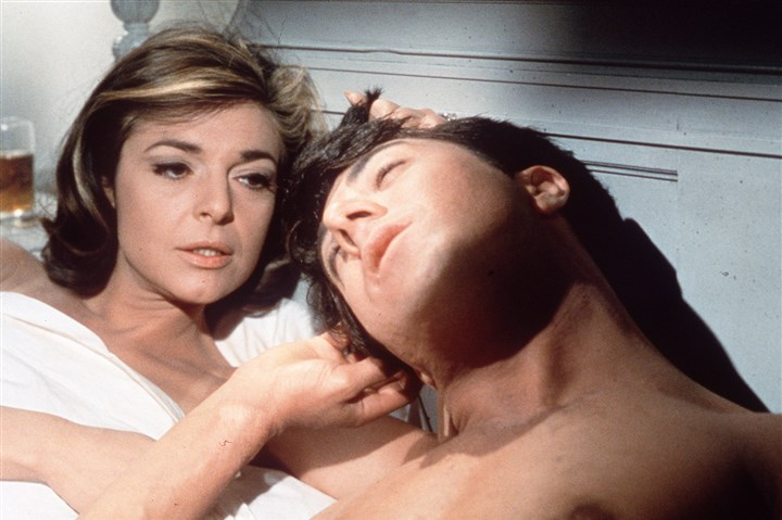 "76j00lh3 In this publicity still, actors Anne Bancroft, left, and Dustin Hoffman appear in a scene from the 1967 film ""The Graduate."""