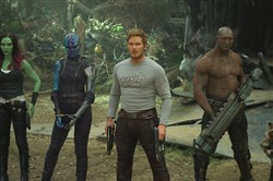 "Returning for ""Guardians of the Galaxy Vol. 2"" are, from left, Gamora (Zoe Saldana), Nebula (Karen Gillan), Star-Lord/Peter Quill (Chris Pratt), Drax (Dave Bautista) and Rocket (voiced by Bradley Cooper)."