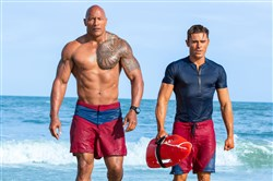 "Dwayne Johnson, left, and Zac Efron in ""Baywatch."""