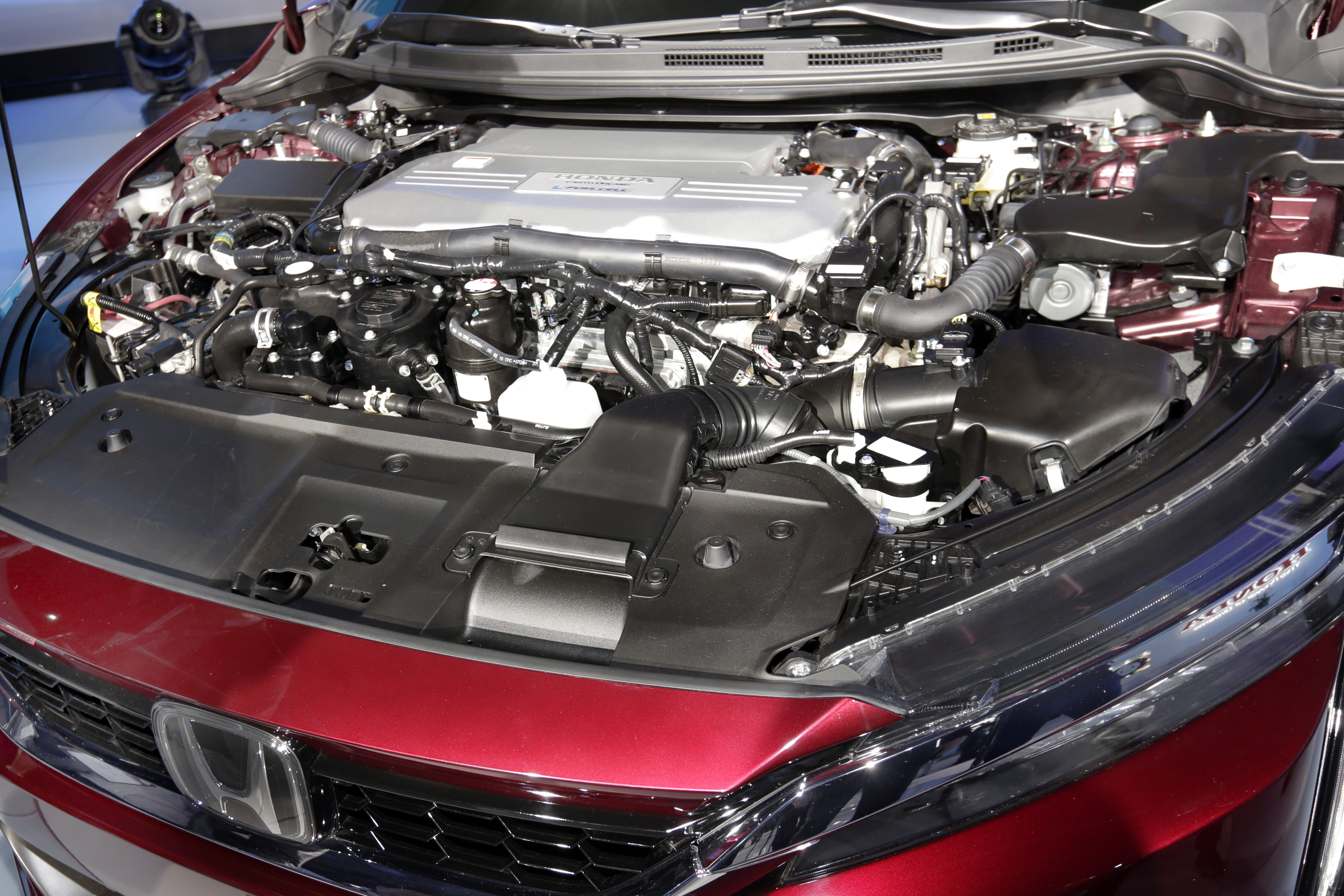 Auto Show Honda The fuel cell engine of the Honda Clarity is shown during a media preview at the New York International Auto Show, at the Jacob Javits Center in New York, Wednesday, April 12, 2017. (AP Photo/Richard Drew)