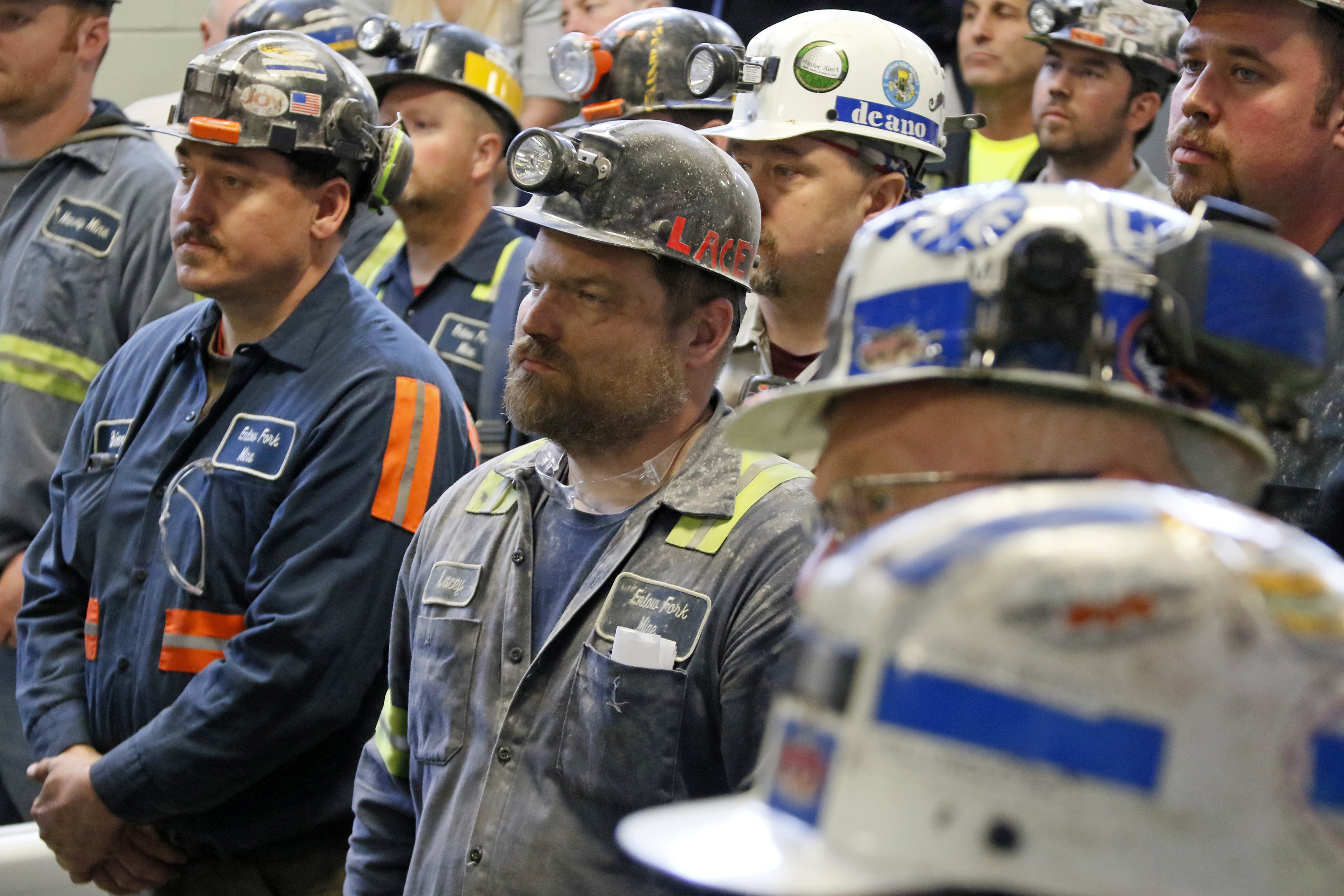 Pruitt EPA Coal Mine-1 A group of coal miners listen to U.S. Environmental Protection Agency Administrator Scott Pruitt during his visit to Consol Pennsylvania Coal Company's Harvey Mine in Sycamore, Pa., Thursday, April 13, 2017. (AP Photo/Gene J. Puskar)