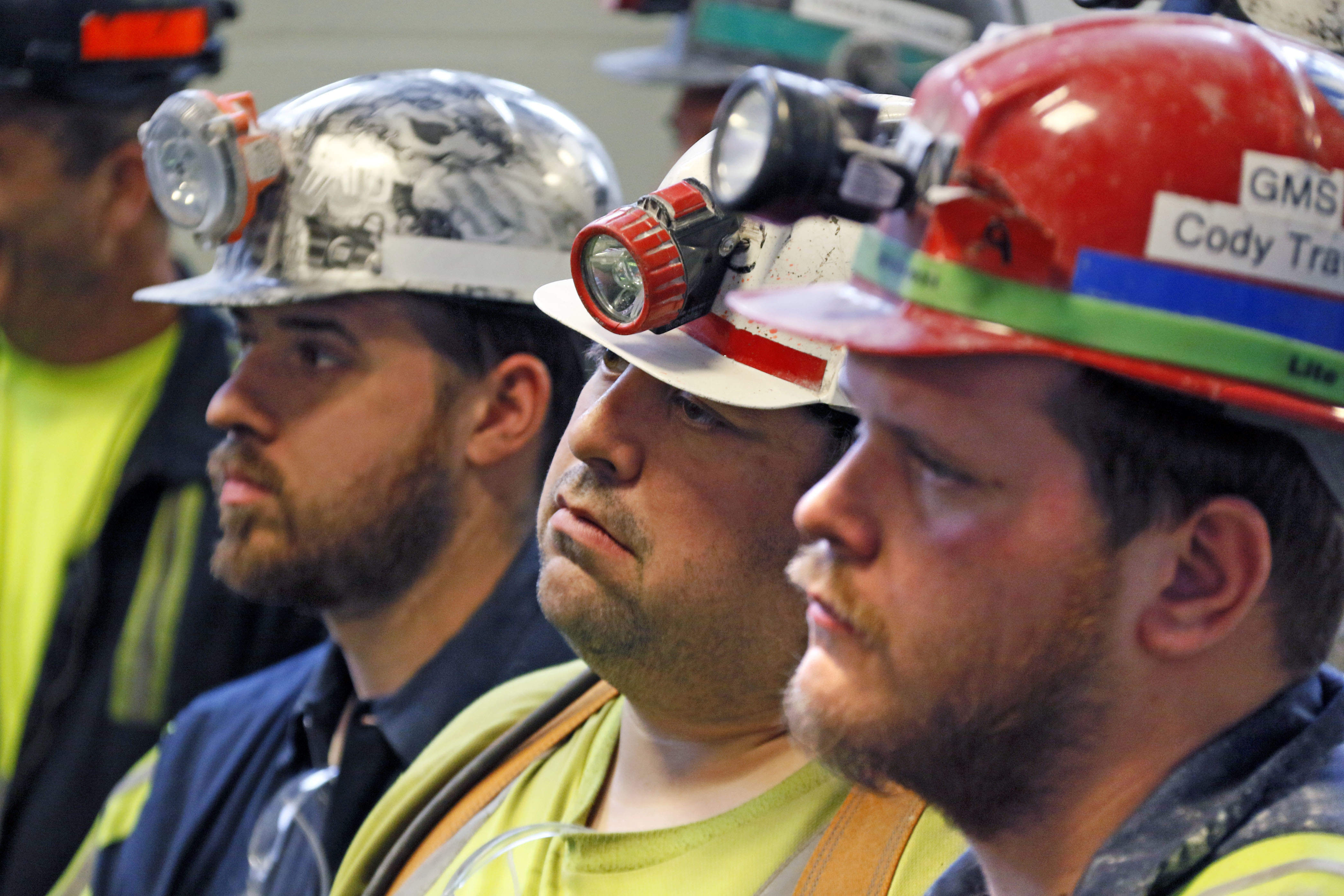 Pruitt EPA Coal Mine-3 A group of coal miners listen to U.S. Environmental Protection Agency Administrator Scott Pruitt during his visit to Consol Pennsylvania Coal Company's Harvey Mine in Sycamore, Pa., Thursday, April 13, 2017. (AP Photo/Gene J. Puskar)