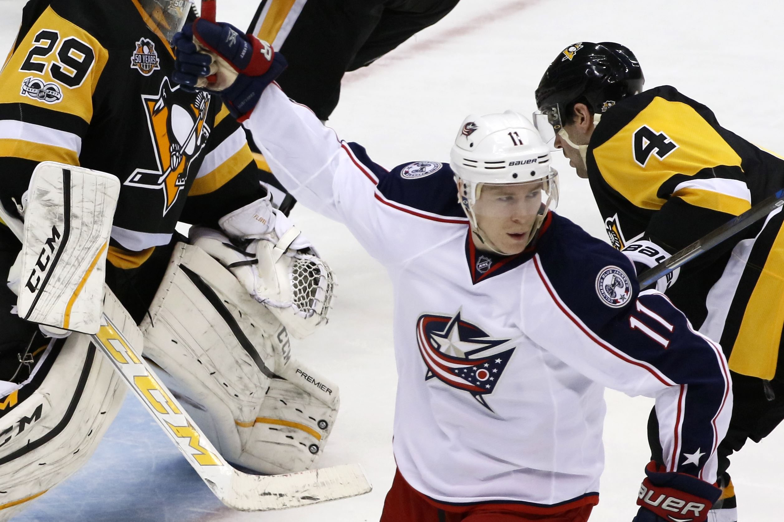 Blue Jackets Penguins Hockey-14 Columbus Blue Jackets&#39 Matt Calvert will have a hearing Saturday for his conduct lFriday's Game 2 on Tom Kuhnhackl of the Penguins
