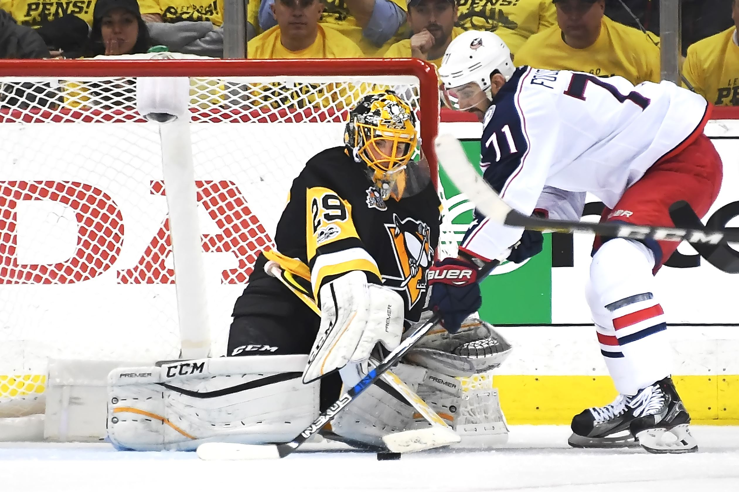 20170414pdPenguinsSports11 Marc Andre Fleury makes a save against the Blue Jackets&#39 Nick Foligno in the third period Friday