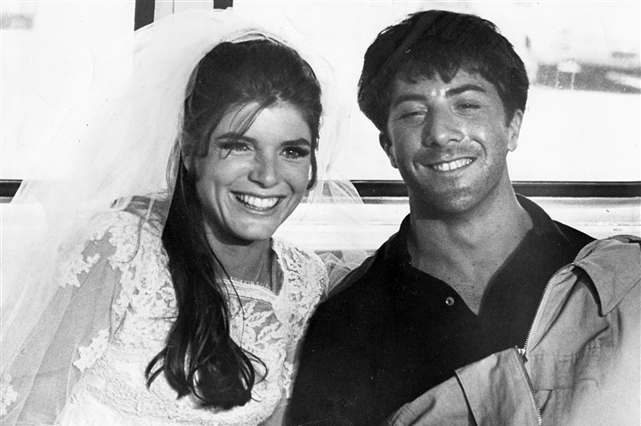 "TheGraduate0416 Katharine Ross and Dustin Hoffman in ""The Graduate,"" from 1967 by director Mike Nichols."