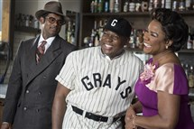 "From left: Sean Panikkar, playing Wendell Smith, Alfred Walker, playing Josh Gibson, and Denyce Graves-Montgomery, playing Grace in the upcoming world premiere production of Daniel Sonenberg's ""The Summer King,"" about Homestead Grays star Josh Gibson."