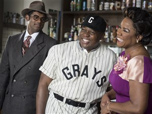 """From left: Sean Panikkar, playing Wendell Smith, Alfred Walker, playing Josh Gibson, and Denyce Graves-Montgomery, playing Grace in the upcoming world premiere production of Daniel Sonenberg's """"The Summer King,"""" about Homestead Grays star Josh Gibson."""