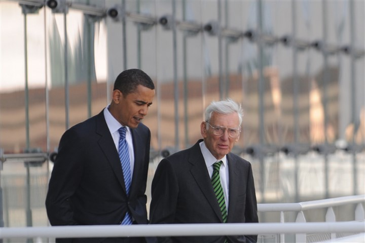 7zl00kdb.JPG Then-Sen. Barack Obama walks with Steelers owner Dan Rooney in 2008 to the rooftop deck of the David L. Lawrence Convention Center to get a view of Heinz Field.