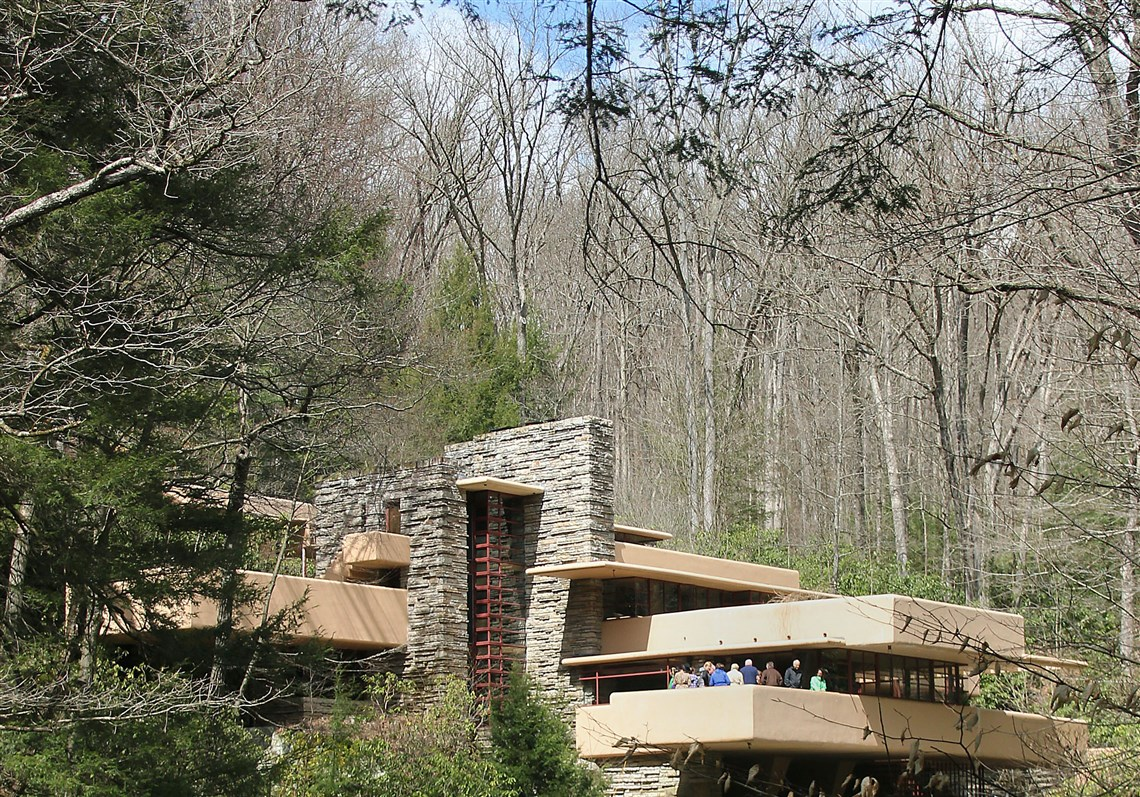 Visitors On The Lower Terrace At Fallingwater Over Bear Run In Fayette County