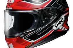The Shoei RF-1200 Valkyrie helmet. Prices start at $486. The model we tested, in the same color scheme shown here, would cost around $750, including the $160 photochromic faceshield.
