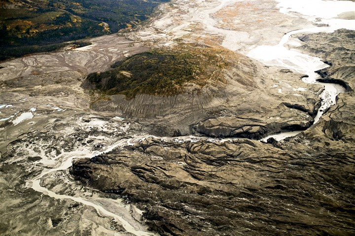 climate-river In 2016, researchers found the retreat of the Kaskawulsh glacier led the meltwater to drain in a different direction than normal, rerouting the Slims River water.