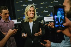 Pitt athletic director Heather Lyke speaks to reporters Wednesday at PPG Paints Arena.
