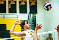 North Allegheny's Eric Visgitis goes up high for a kill. Visgitis has helped the Tigers to a No. 1 ranking in the WPIAL.