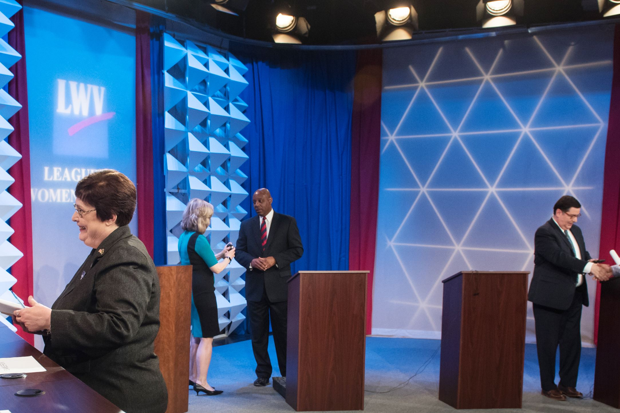 WTAE 2017 Pittsburgh Mayoral Debate City Councilwoman Darlene M. Harris of Zone 1 talks to debate moderators Wednesday after the WTAE 2017 mayoral debate at the station's studios in Wilkinsburg, Pa. Behind her, fellow Democratic contenders Rev. John Welch, back center, and Pittsburgh Mayor Bill Peduto, back right, talk to members of the media.