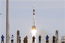 A Soyuz-FG rocket booster with a Soyuz MS-04 spacecraft carrying a new crew to the International Space Station blasts off Thursday at the Russian leased Baikonur cosmodrome, Kazakhstan. The Russian rocket carried U.S. astronaut Jack Fischer and Russian cosmonaut Fyodor Yurchikhin.