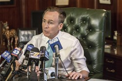 Lt. Gov. Mike Stack holds a press conference in his office to apologize to his state police-provided security detail and other staffers for how he and his wife Tonya treated them, April 12, 2017.