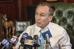 Lt. Gov. Mike Stack holds a press conference in his office in April to apologize to his Pennsylvania State Police-provided security detail and other staffers for how he and his wife Tonya treated them.