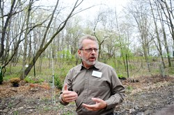 Keith Kaiser, executive director of the Pittsburgh Botanic Garden gives a tour at the garden that sits over former coal mines.