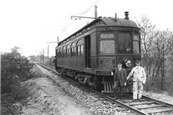 Harmony interurban trolley line in service in 1912, now preserved at Pennsylvania Trolley Museum in Chartiers, Pa.