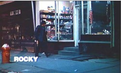"Shot of the storefront in the titles to ""Rocky."""