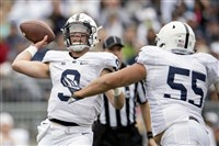 Penn State quarterback Trace McSorley passes as he is pressured by Antonio Shelton during the Blue-White game Saturday in State College, Pa.