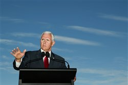 US Vice President Mike Pence speaks during a press conference at Kirribilli House on April 22, 2017 in Sydney, Australia. Mr Pence will meet with Prime Minister Malcolm Turnbull, Foreign Minister Julie Bishop, Opposition Leader Bill Shorten, and members of the US and Australian militaries during his two-day visit. It is the first time a US Vice President has come to Australia before a President in nearly 30 years.