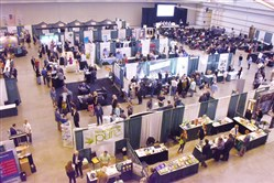 Some of the booths at the World Medical Cannabis Conference and Expo on Friday at the David L. Lawrence Convention Center, Downtown.