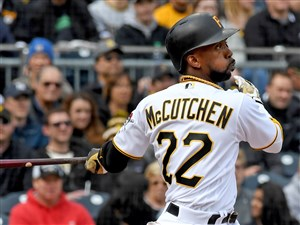 Pirates Andrew McCutchen hits a home run against the Yankees April 22 at PNC Park.