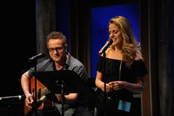 "Nikos Tsakalakos and actress Katie Sexton perform songs from his autobiographical musical ""Pool Boy"" at Pittsburgh CLO""s showcase of the Next Generation New Musicals Weekend Friday evening at the Cabaret at Theater Square."