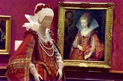 The Frick Pittsburgh displays the commissioned Isabelle de Borchgrave red gown, made of paper,  that Charlotte-Marguerite de Montmorency, the Princess of Conde, wore for the Peter Paul Rubens oil on canvas portrait hanging at The Frick Pittsburgh.