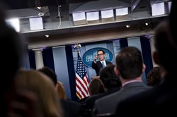 US Secretary of the Treasury Steven Mnuchin takes questions after announcing sanctions against Syria during a briefing at the White House April 24, 2017 in Washington, DC. / AFP PHOTO / Brendan SmialowskiBRENDAN SMIALOWSKI/AFP/Getty Images