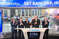 S&T president and chief executive officer, Todd D. Brice, joined by Mark Kochvar, chief financial officer, and Kevin O'Neill, relationship manager, rang the Nasdaq Stock Market Closing Bell on April 24, 2017 in celebration of S&T Bancorp's 25 year listing anniversary.