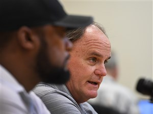 Steelers GM Kevin Colbert and coach Mike Tomlin discuss the upcoming NFL draft Monday.