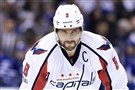 Washington Capitals left wing Alex Ovechkin looks on during a break in play against the Toronto Maple Leafs during Game 6 of a Stanley Cup first-round playoff series on Sunday, April 23, 2017.