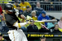 Pirates center fielder Andrew McCutchen breaks his bat on a fielder's choice to third in the third inning April 24 at PNC Park.