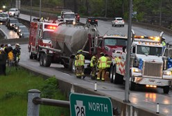 A truck was involved in a multi-vehicle accident, resulting in an oil spill, along the southbound lanes of Route 28 near Millvale Tuesday morning.