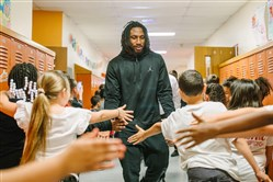 Former New Castle High School and Ohio State star Malik Hooker visits students at George Washington Intermediate school in New Castle on April 25, 2017. Hooker is projected to be one of the top 10 overall picks in Thursday's NFL draft.