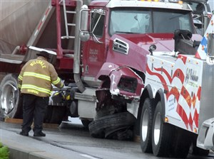 A wrecked tanker truck sits on southbound Route 28 near Millvale on Tuesday morning.