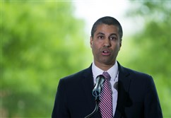 Federal Communications Commission Chairman Ajit Pai speaks during an internet regulation event at the Newseum April 26, 2017 in Washington, DC.